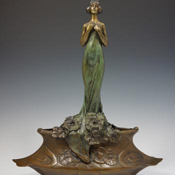 Charles (Karl) Korschann Symbolist / Art Nouveau Bronze Centerpiece - Art Nouveau