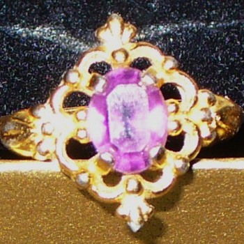 Purple Glass and Gold Filigree Ring - Costume Jewelry