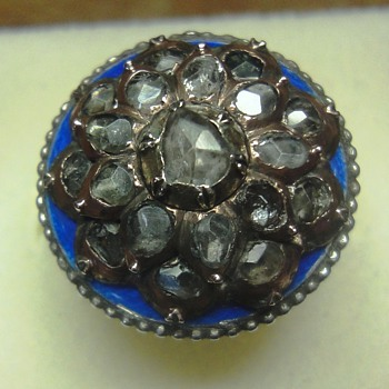 Georian blue enameled silver ring met rose cut diamonds in gold
