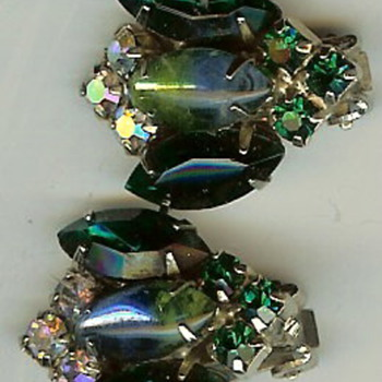 Vintage Rhinestone & Glass Clip Earrings - Costume Jewelry