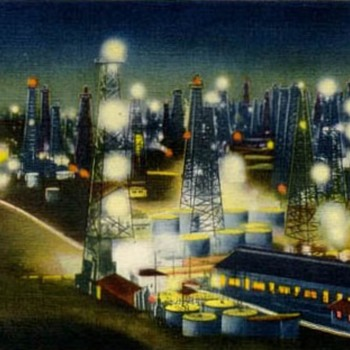 Merry Christmas from the past mighty oil fields in Long Beach & Signal Hill, CA - Postcards