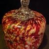 Bohemian? Welz? Vanity jar with dogs head finial.