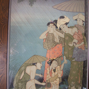 Geishas Painted on silk