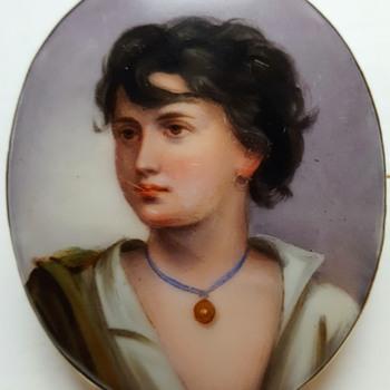 Antique large enamel on porcelain brooch, Neapolitan fisher boy after Gustav Richter.