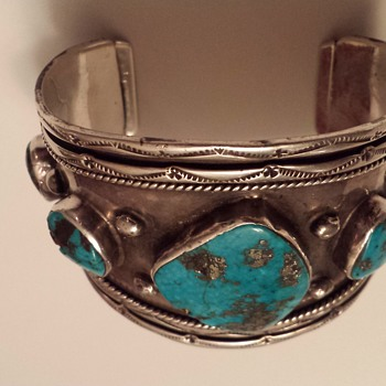 Huge Old Native American Navajo ? Mens Silver & Turquoise Cuff Bracelet - Native American