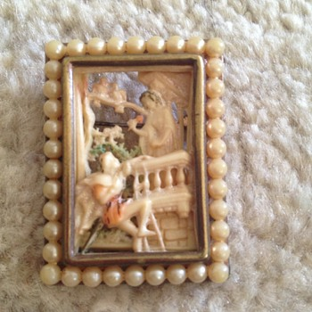 Romeo and Juliet bakelite/ivory brooch - Costume Jewelry