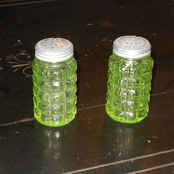 Vintage Vaseline Glass Salt and Pepper Shakers - Glassware