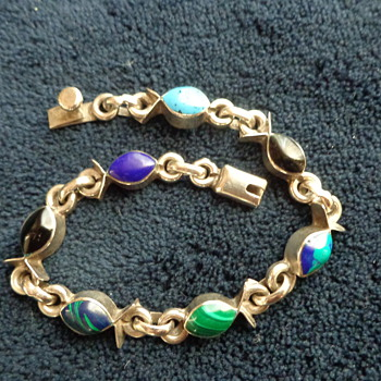 "Mexican Sterling ""Fish"" Bracelet"