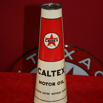 Caltex conical oil can