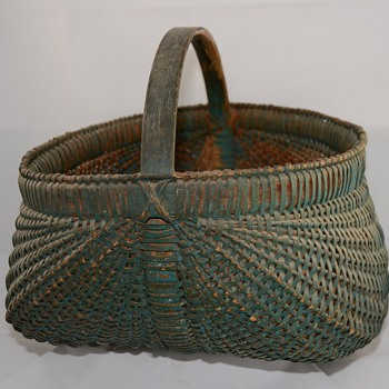 Large Green Buttocks basket or melon Painted Primitive Basket