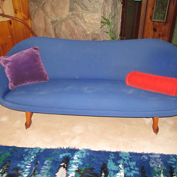electric blue sofa - designer unknown - Mid-Century Modern