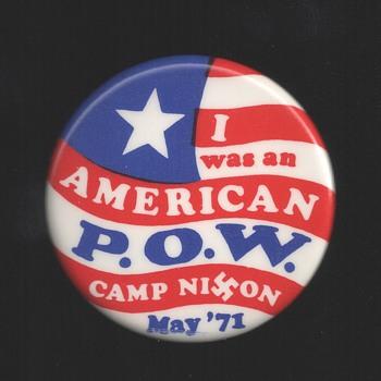American POW Camp Nixon Vietnam Protest Pinback Button