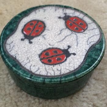 Trinket Box with Lady Bug Decor - Art Pottery