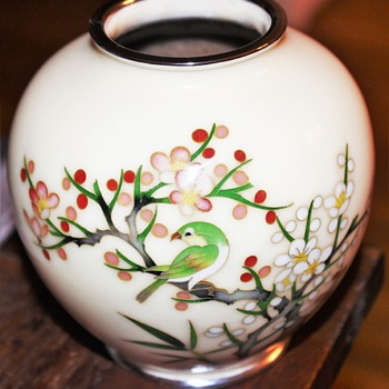 Japanese Cloisonne Copper & Enamel Bird Vase Cherry Blossoms