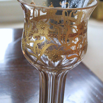 Hollow Stem Glasses with Gold Encrusted Decorations