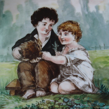 Huge charger or plaque antique children with a rabbit by Proudhon Pierre Paul