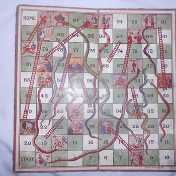 Old Snakes and Ladders  board. - Games