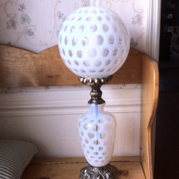 My Grandfather's Table Lamp (possible Fenton) - Lamps