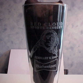 Budweiser Red Cloud Sports Banquet Tall Glass 1989