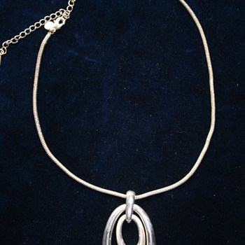 Silver Tone Ovals Necklace with heavy snake chain - Costume Jewelry