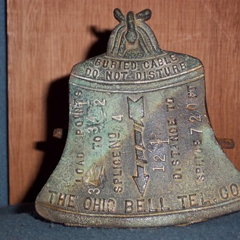 Ohio Bell Telephone Co. brass buried cable marker - Telephones