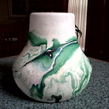 Nemadji  Pottery Vase /Matte Swirled Green Finish / Circa 1950 - Art Pottery