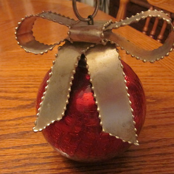 Large Vintage Crackled Glass Christmas Ornament - Christmas