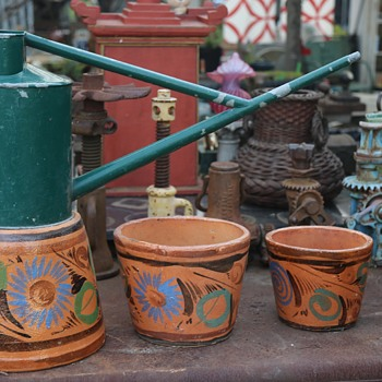Mexican Flower Pots and a Long-handled Watering Can