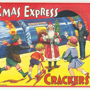 British Paper crate labels for Batgers Crackers Santa Claus vintage Christmas Train - Paper