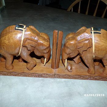 Hand Carved Book-Ends