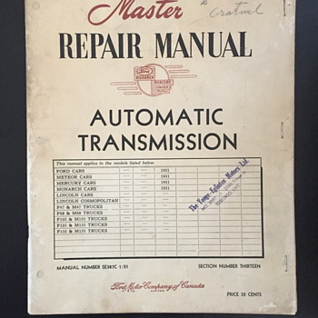 Master repair manual automatic transmission booklet. - Paper