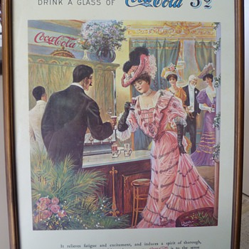 Early 1900s Coca-Cola Cardboard Poster - at the theatre
