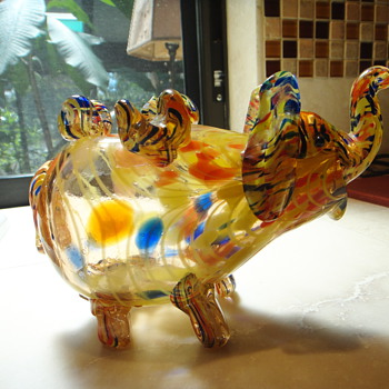 Unusual Murano Confetti Elephant Vase - Art Glass