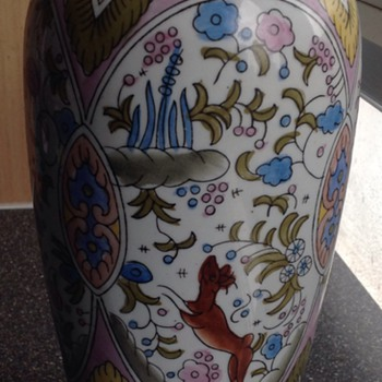 Porcelain hand painted vase - Asian
