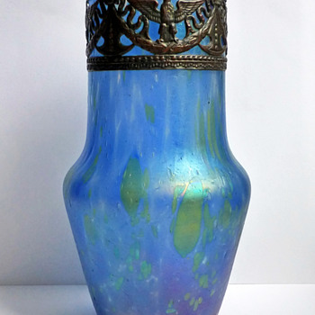 Bohemian Iridescent Blue Glass Vase with Embossed Copper Collar