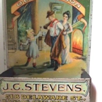 Vintage Tin Lithograph Old Judson Whiskey Match Safe with Striker