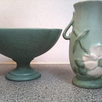 "Weller Meets Royal Haeger / Royal Haeger Matte Green R- 111 Pedestal Bowl/Weller 6 1/2"" Matte Green""Wild Rose"" Vase Circa 1930 - Pottery"