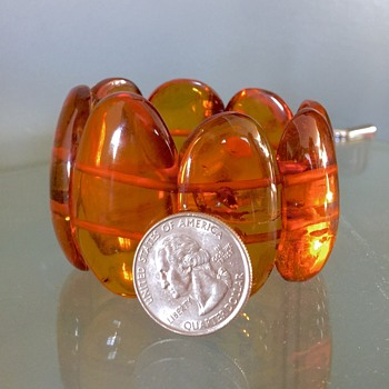 Huge Vintage Baltic Honey Amber Included Panel Bracelet  - Fine Jewelry