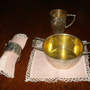 Silver Art Nouveau/Jugendstil christening set - Sterling Silver