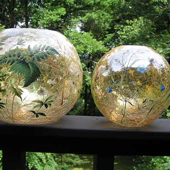 Moser Crackle and Enameled Glass - Art Glass