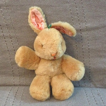 Shanghai Dolls Factory Bunny Rabbit Wool Mohair Plush 1950s 60s Pink Glass Eyes