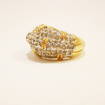 Vintage Joseph Mazer Pav Rhinestone Ring - Costume Jewelry