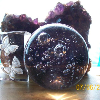 Ok I have Glassware :-) well two  . Bubble paperweight display  - Art Glass