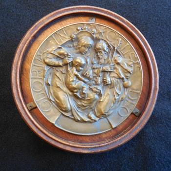Antique Religious Bronze/Brass Press Molded Leaded Back Plaque - Christmas