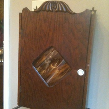 1920 Slag Glass and Wooden Medicine Cabinet - Art Nouveau