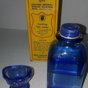 Vintage Collyrium Cobalt Blue Glass Eye Wash Bottle and Glass Eye Cup - Bottles