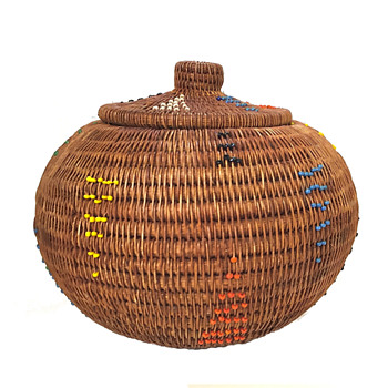 Round Coiled Lidded Basket With Colored Seed Beads - Furniture