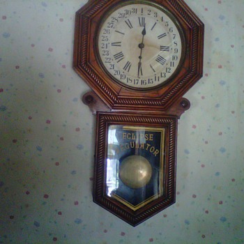 new haven clock company eclipse regulator in moms kitchen since 1950's - Clocks
