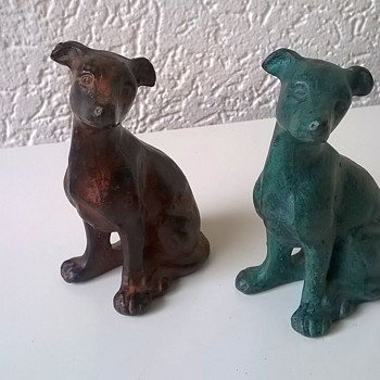 Bronze Whippet Pup Figures, Thrift Shop Find 7 Euro ($7.77) - Animals