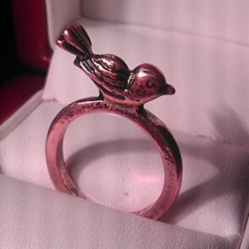 copper bird ring - Costume Jewelry